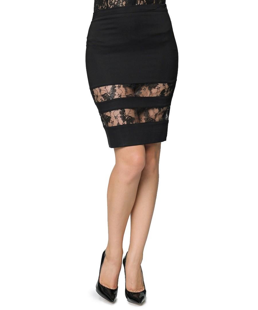 Carla giannini black striped lace pencil skirt designer skirts sale