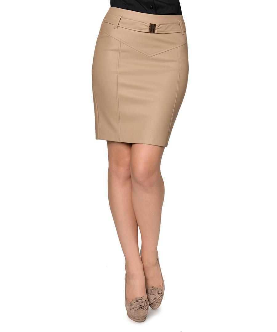 extasy beige faux leather pencil skirt designer skirts