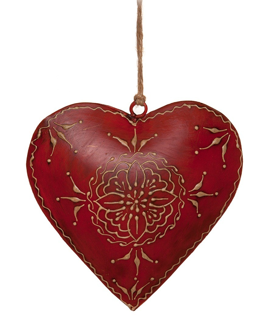 London ornaments metal heart set of six