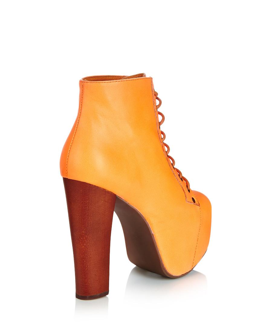 jeffrey campbell lita orange leather boots designer footwear sale outlet secretsales. Black Bedroom Furniture Sets. Home Design Ideas