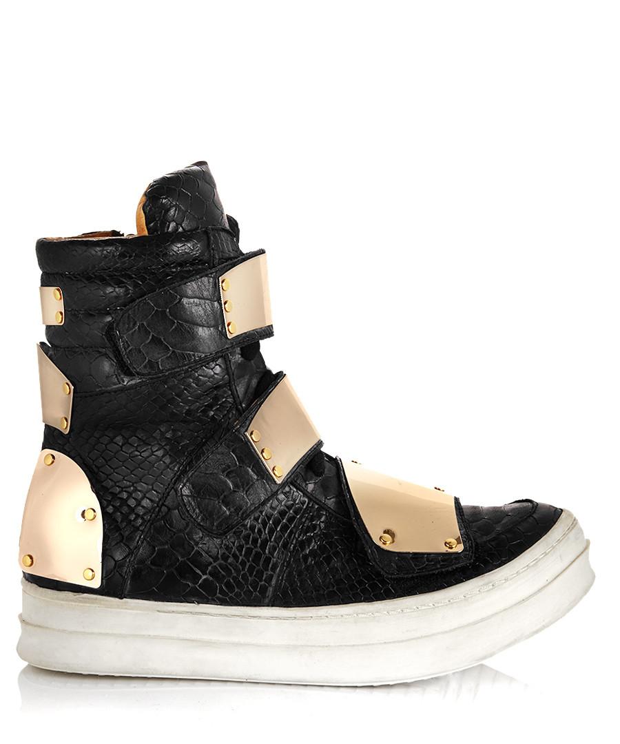 jeffrey campbell optimus black leather boots designer footwear sale jeffrey campbell secretsales. Black Bedroom Furniture Sets. Home Design Ideas
