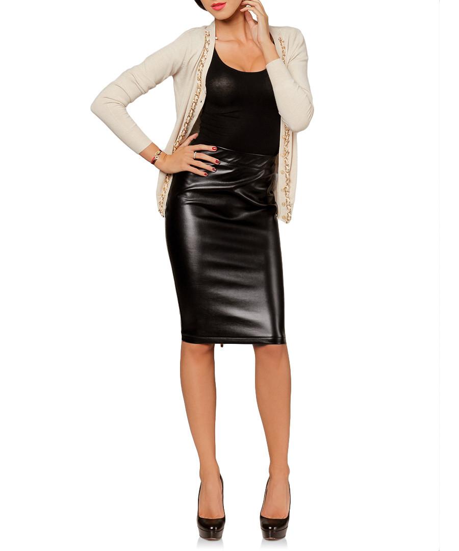 joins black leather look pencil skirt designer skirts