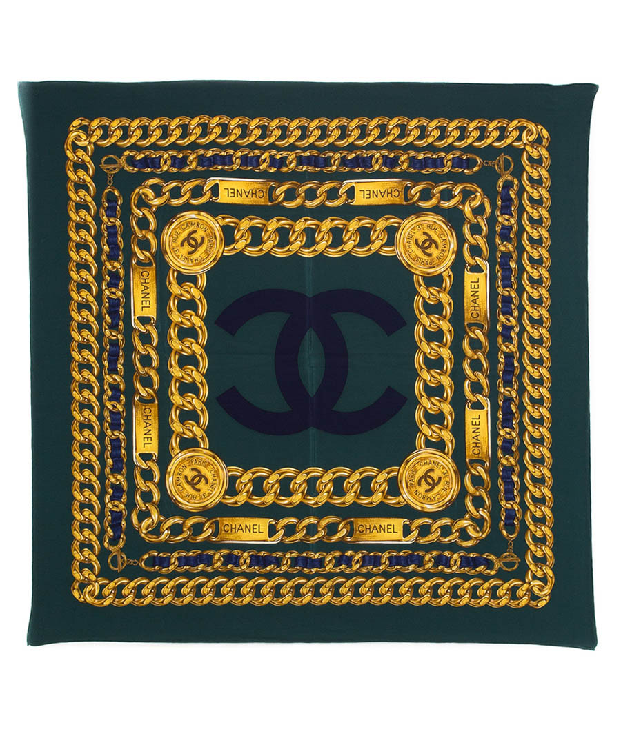 Dark green chain print silk scarf Sale - Chanel