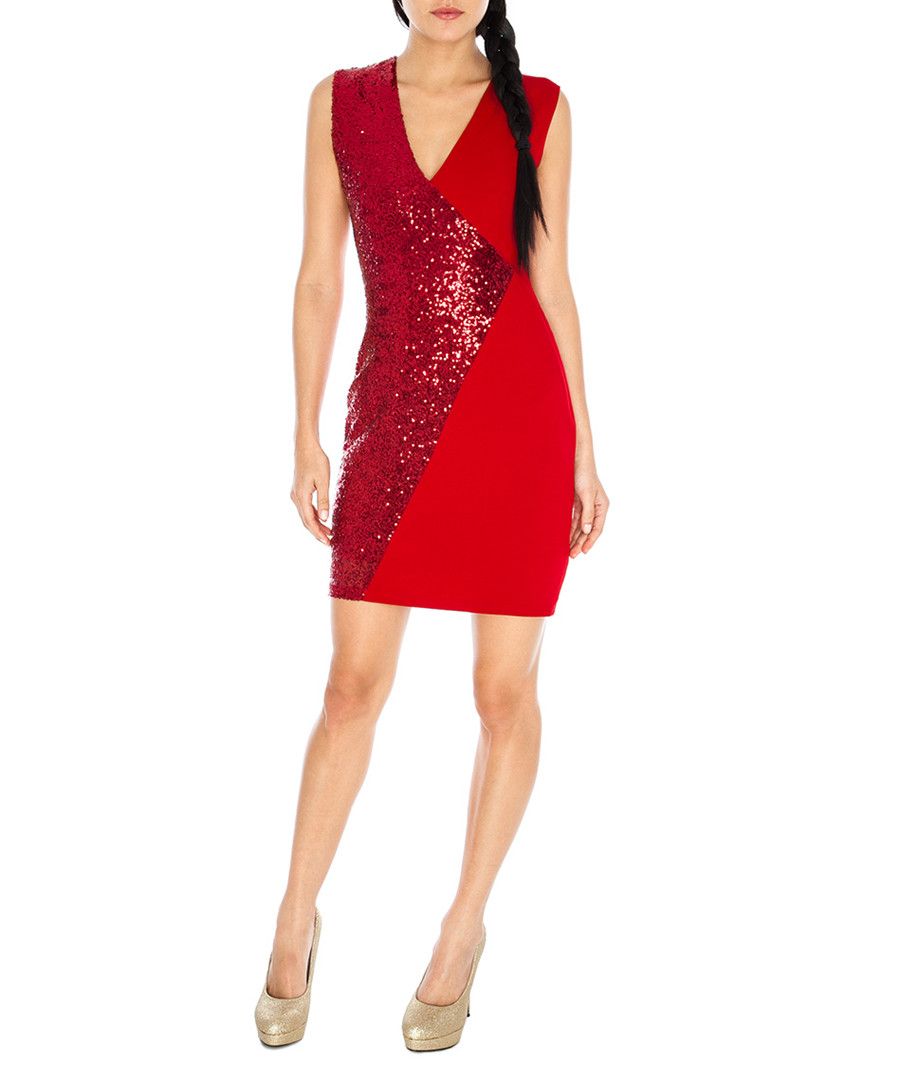 Goda red sequin embellished dress designer dresses sale christmas