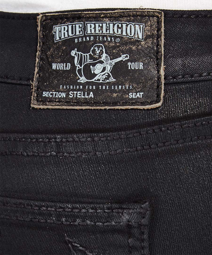 true religion stella black coated skinny jeans designer trousers jeans sale the women s. Black Bedroom Furniture Sets. Home Design Ideas
