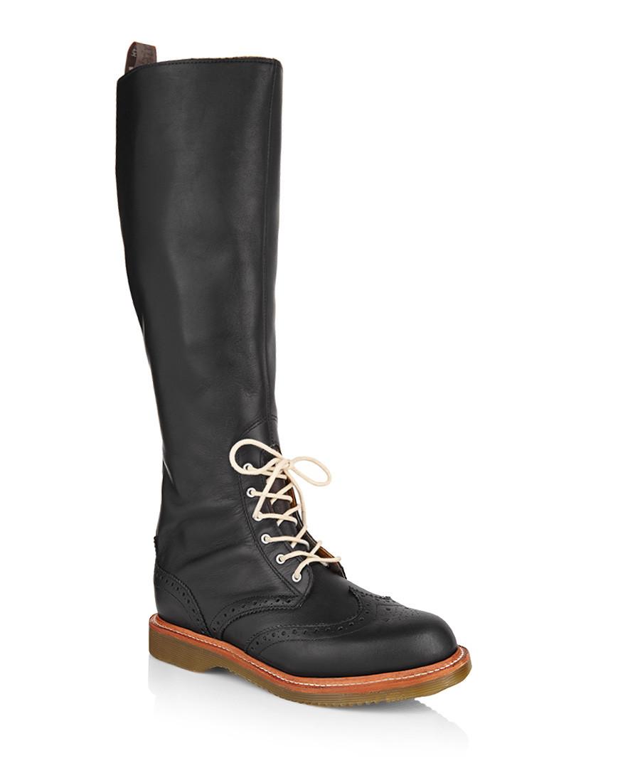 dr martens moya black leather brogue boots designer. Black Bedroom Furniture Sets. Home Design Ideas