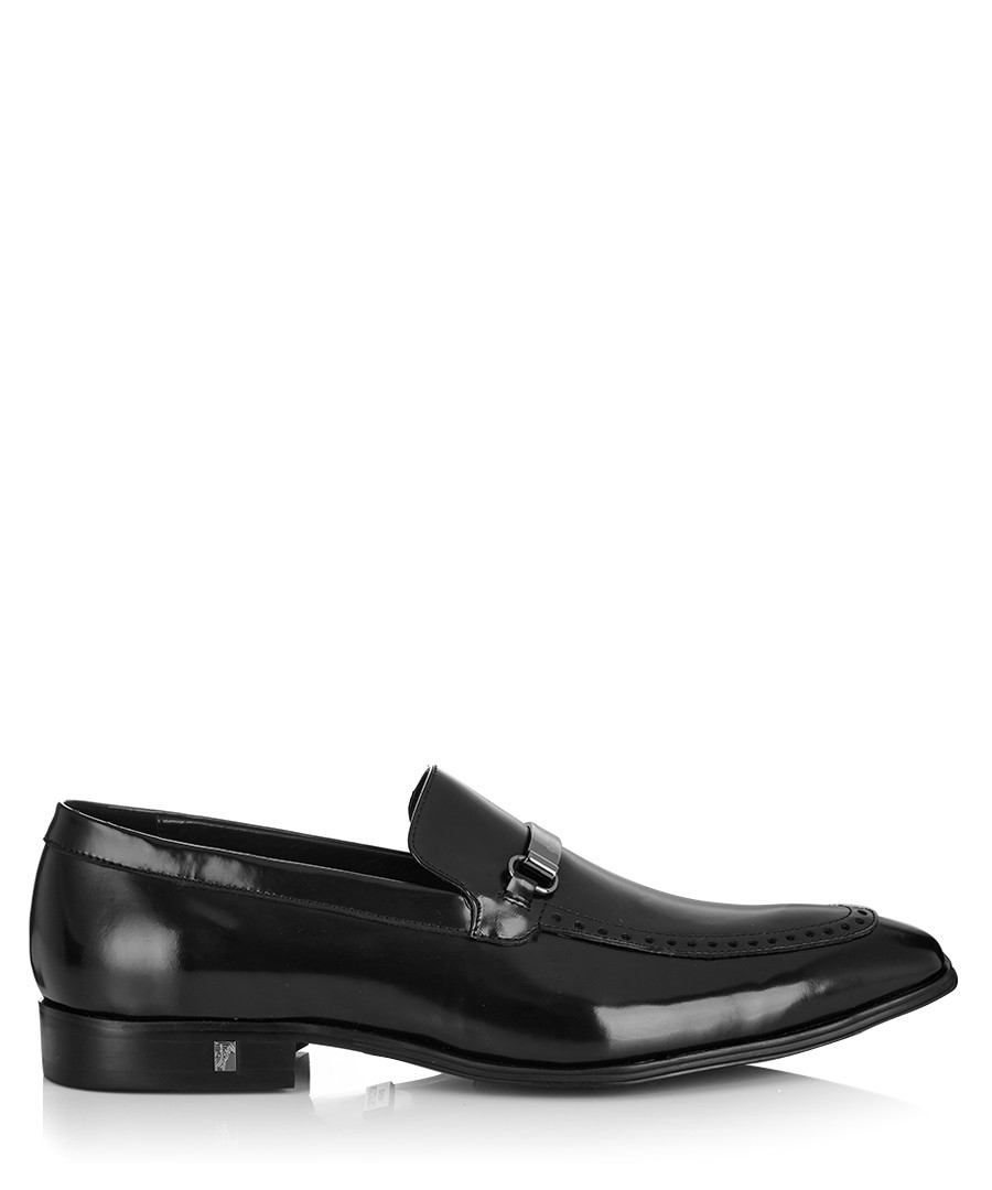 versace collection black leather loafers designer