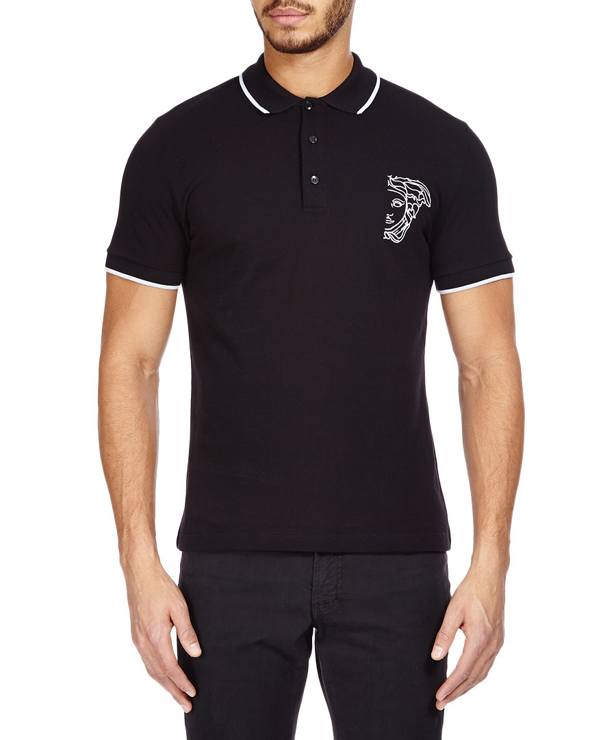 Versace Collection Medusa black cotton polo shirt ...