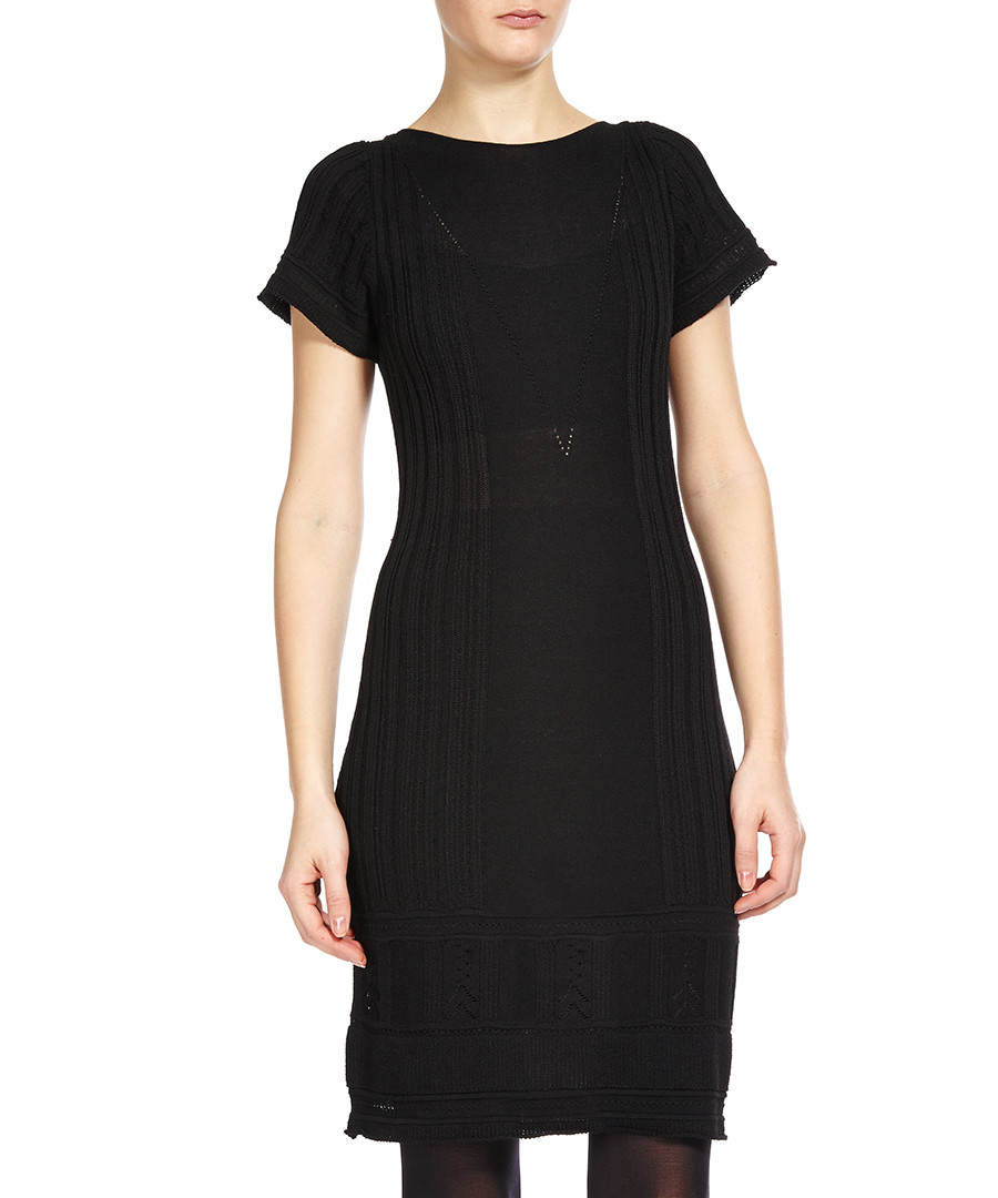 Maxstudio black linen blend sweater dress designer dresses sale leon