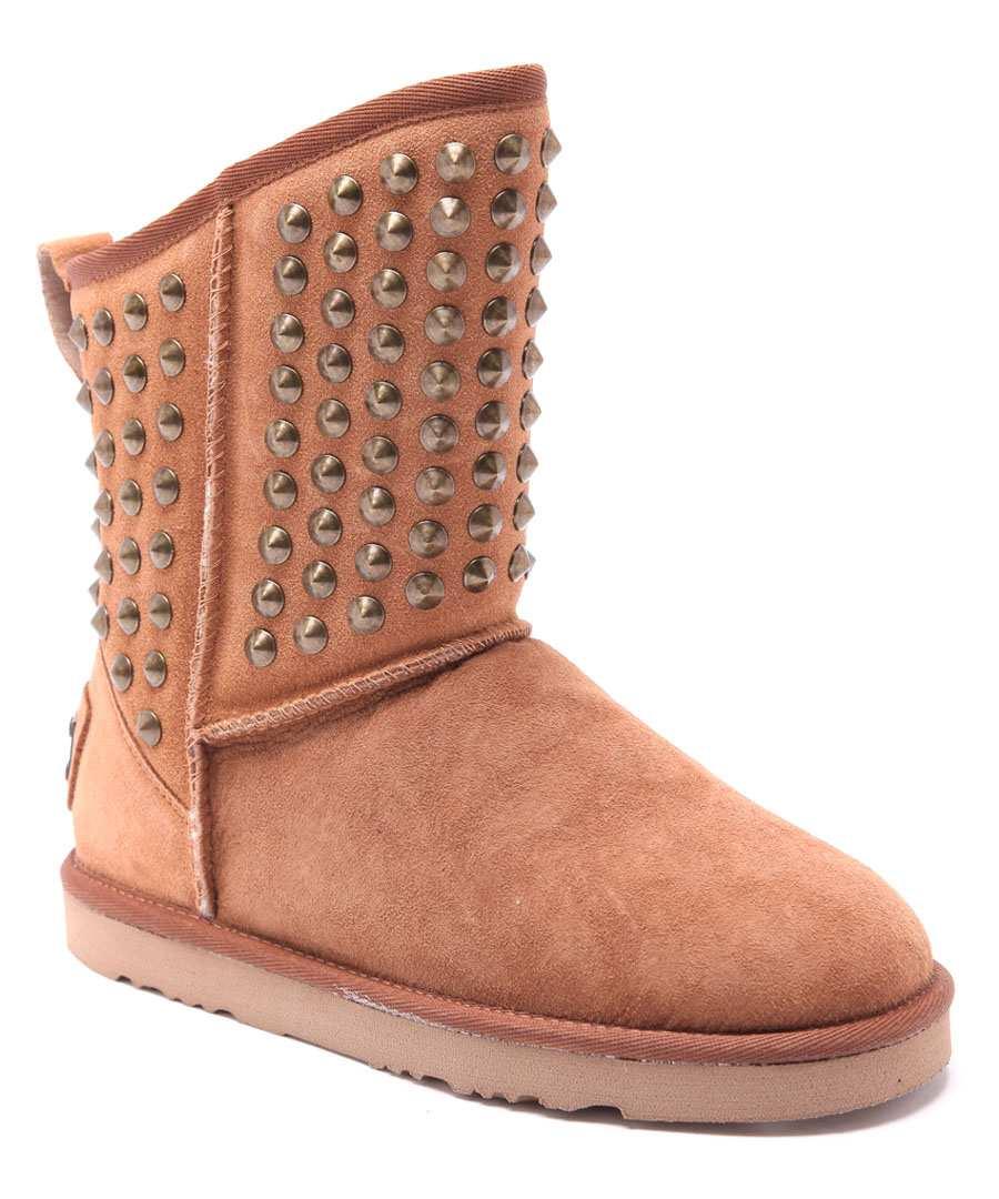 Pistol chestnut studded suede boots Sale - Australia Luxe