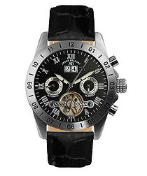 Galactique black leather watch